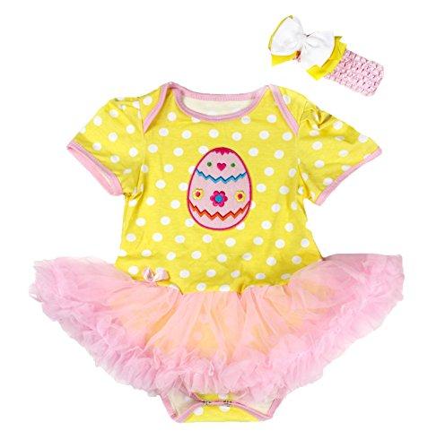 Paasei Geel Wit Polka Dot Bodysuit Licht Roze Baby Meisje Jurk Nb-18m