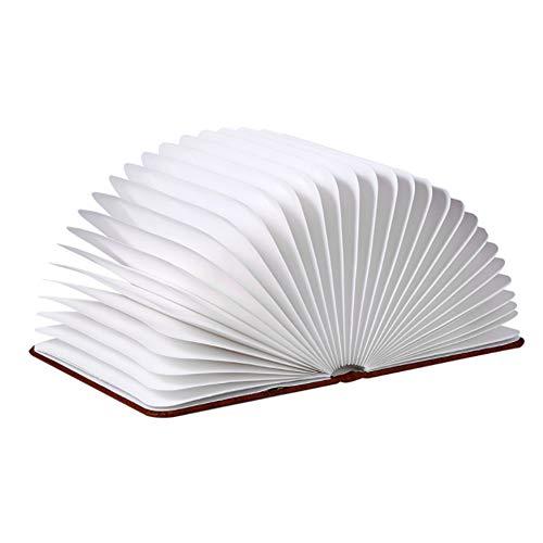 Veilleuse - Cuir PU/papier kraft blanc, éclairage bicolore, portable pliable, forme interchangeable, lampe de lecture en bois pliante à rabat romantique, idéale pour la famille, la chambre à coucher