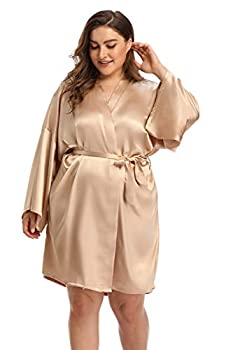 Women s Plus Size Satin Robes Short Silky Bathrobes Bridesmaid Party Dressing Gown,Champagne,4X