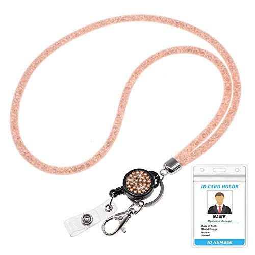 "Bling Lanyard for Women, QBeel 32.8"" Crystal Lanyards with ID Badge Holder Retractable Rhinestone Lanyard for Keys Wallet Phones Glasses (1 Pack - Coral)"