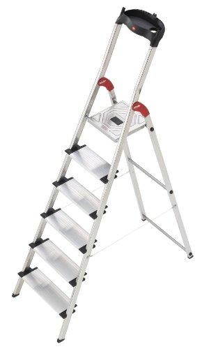 Hailo XXL - Escalera doméstica de aluminio, peldaños extra anchos, bandeja multifuncional, gancho para cubo y pinza para cable (6 peldaños)