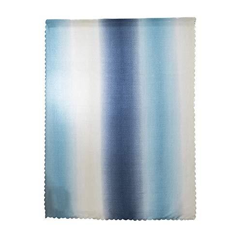 LovePlz 1Pc Gradient Sunlight Blackout Window Curtain Magic Tape Drape Bedroom Decor Small Window Curtains for Living Room, Bedroom Blue & White