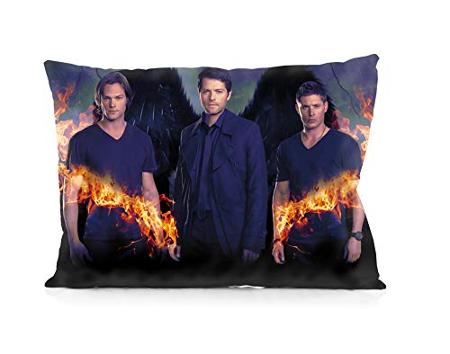 "Supernatural Jensen Ackles Jared Padalecki Pillowcases Both Sides Print Zipper Pillow Covers 20""x30"""