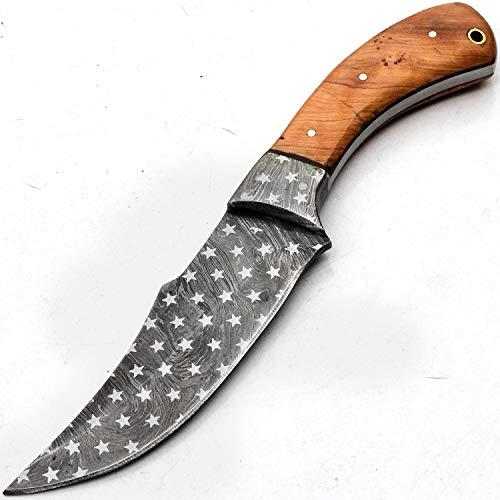 Couteau en acier Damas sur mesure avec étui - design original de la lame Damas en acier motif branded Non imprimé - Manipulation de surface - Motif gravé 9717