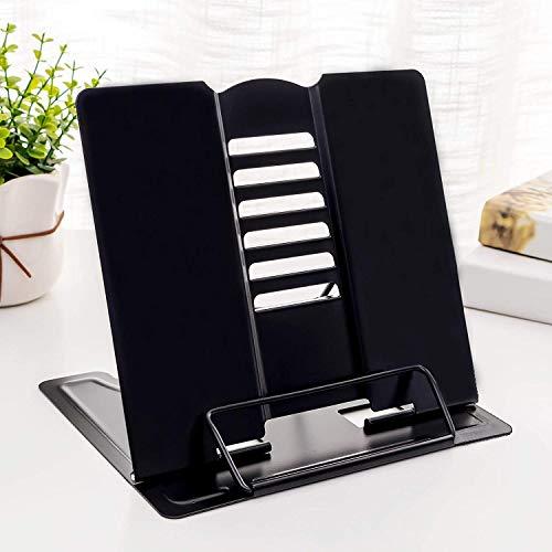 Apar Desk Book Stand Metal Reading Rest Book Holder Adjustable Document Cookbook Holder Portable Foldable Bookstands for Textbooks Tablet Music Books Recipe (Multi Color)