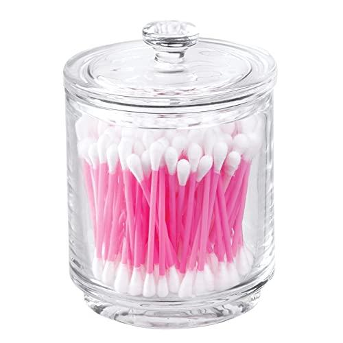 mDesign Organizador de cosméticos de vidrio – Frasco de cristal con tapa – Mantiene secos productos de algodón, sales de baño y más – Contenedor de vidrio para productos de cosmética – transparente