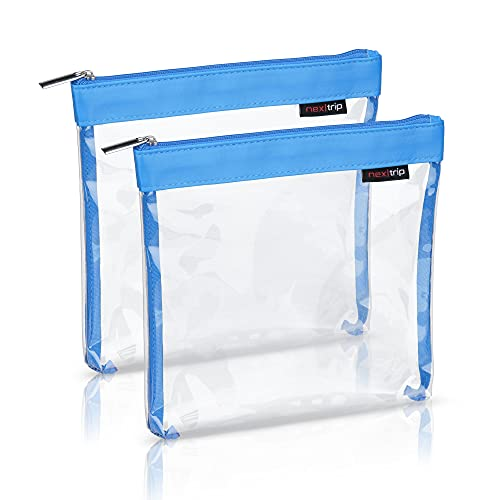 nex|trip [Juego de 2] Neceser transparente para líquidos, equipaje de mano, bolsa de cosméticos transparente para avión, set de viaje