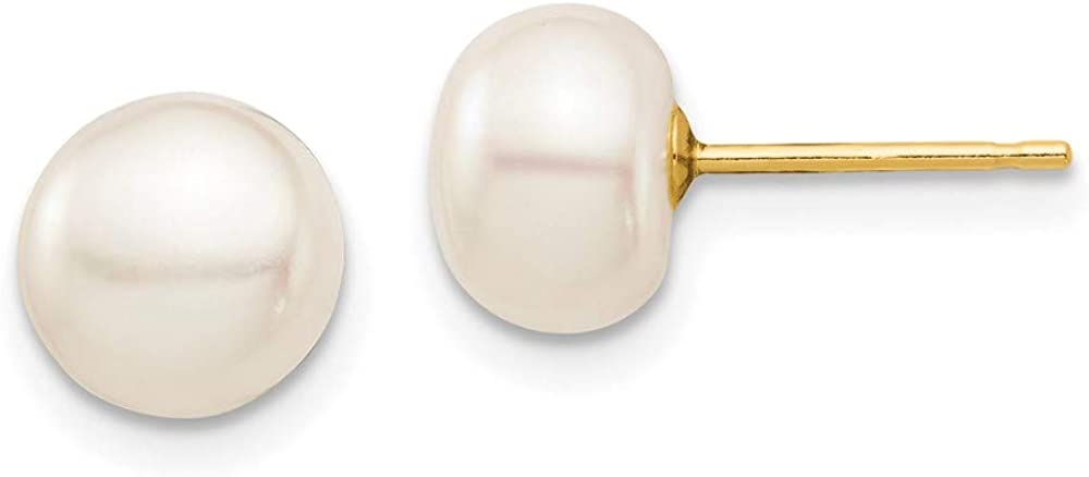 14k Yellow Gold 8mm White Button Freshwater Cultured Pearl Stud Post Earrings Ball Fine Jewelry For Women Gifts For Her