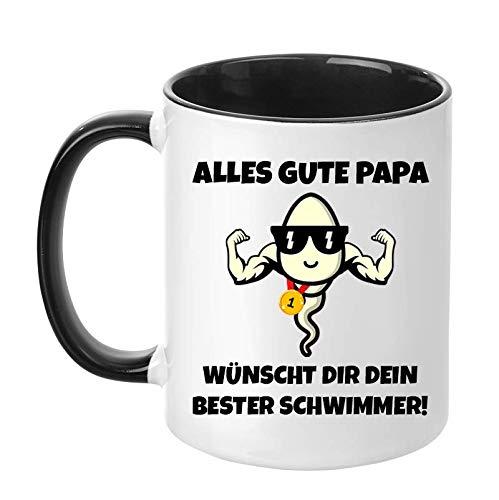TassenTicker - Alles Gute Papa. Wünscht dir Dein Bester Schwimmer - Geschenk - Vatertag - Kaffeetasse - Tasse für Männer - lustig - Geburtstag - Geschenkidee (Schwarz)