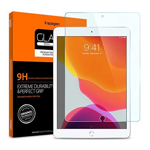 Spigen, Panzerglas Schutzfolie kompatibel mit iPad 7 10.2 2019, Hüllenfreundlich, Kristallklar, 9H gehärtes Glas, 0.3 mm, iPad 7 10.2 2019 Schutzfolie (AGL00236)