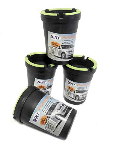 4 Pack Stub Out Glow in the Dark Cup-style Self-extinguishing Cigarette Ashtray - Butt Bucket -Portable Ashtray Black