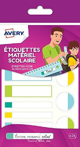 Avery Dekoknöpfe aus 24Etiketten Einsteckkarten Blanc avec bordure Vert/Bleu/Jaune/Rouge