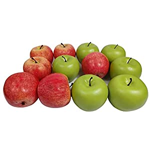Artificial Fruit Fake Simulation Fruit for Home Kitchen Party Photography Prop Wedding Decoration (6pcs Green +6pcs Red)