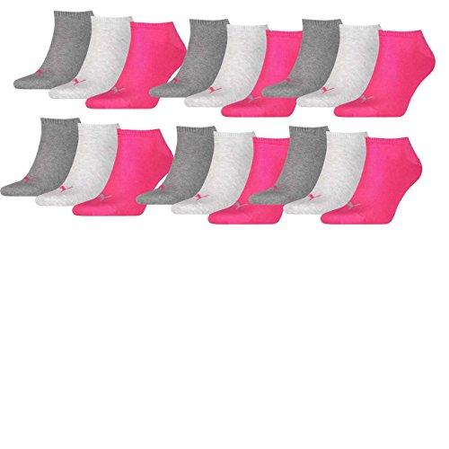 PUMA Unisex Invisible Sneaker Socken 6er Pack, Größe:39-42, Farbe:middle grey melange/pink