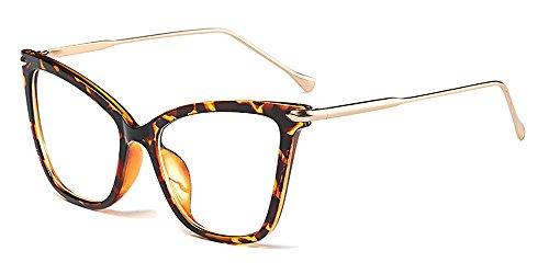 BOZEVON Damen Übergröße Cateye Mode Retro Brillen Damen Draussen Klassische klare Linse Transparent Sonnenbrille, Leopard/Transparent