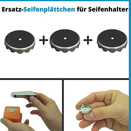 Seifen Plättchen für Magnet Seifenhalter, 3er Pack, aus S.S.201 Edelstahl, für magnetische Seifen Aufbewahrung, stabil und robust für jede Seife, Magnet Seifenschale zum Kleben, Seifenmagnete