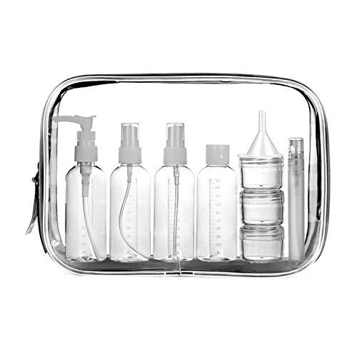 Meiruier 10 pcs Botellas de Viaje, Bolsa de Cosméticos Impermeable Botellas de Viaje Portátiles Reutilizables Botellas Cosméticas Set de Botellas de Viaje para Champú/Crema/Gel/Líquido Contenedo