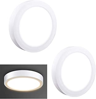 2Pack LED Surface Mounted Panel Ceiling Light Fixture-12W(100W Equivalent) Soft Warm Flat Flush Mount Downlight Lamp for Closet/Hallway/Stairs/Bathroom/Basement Lighting