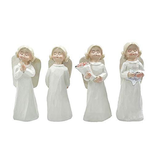 Angel Mother and Daughter Figurine Ornament Sculpted Hand-Painted Figure Angel Resin Statues for Lawn Ornaments Indoor or Outdoor Decorations
