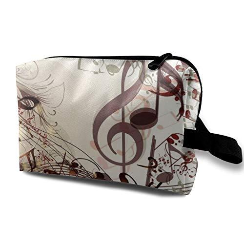 Borsa da viaggio in tela per trucchi, portatile, piccola borsa per cosmetici, per ragazze, donne, uomini, note musicali fantasiose