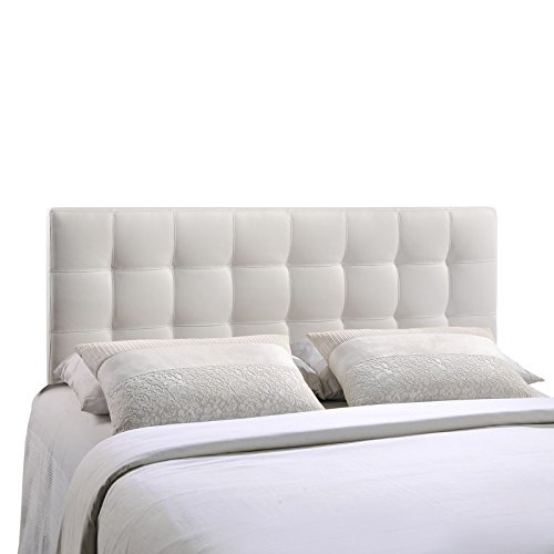 Modway Lily Tufted Faux Leather Upholstered Queen Headboard in White