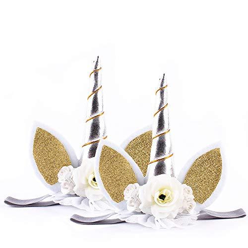 IEUUMLER Unicornio Cuerno Diadema con Flores Artificiales Accesorio de Pelo de Fiesta Diadema unicornio para Niñas TS002 (White)