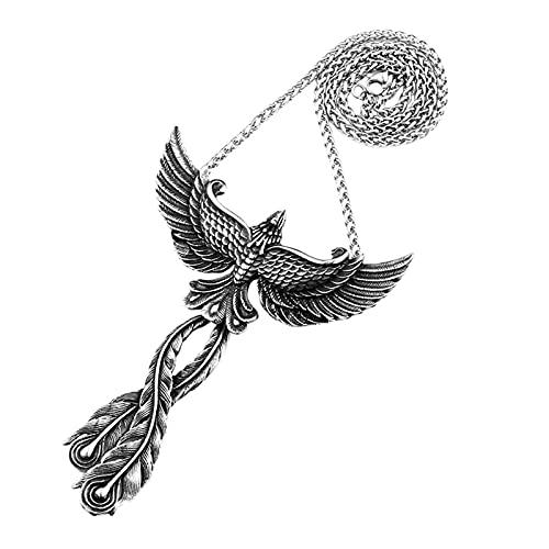 OAKKY Retro Pájaro Misterioso Fénix Tótem Amuleto Collares Hombre Acero Inoxidable