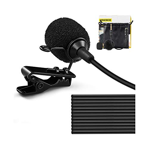 Clip On Microphone, WindBox 19 Feet Single Head Omnidirectional Lavalier Lapel Shirt Microphone for Video Recording, Cell Phone Mic for iPhone Android Smartphone, Camera, YouTube, Interview, Studio