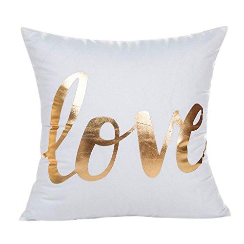 Kissenbezug 45 x 45 cm Gold folie Druck kissenhülle Sofa Taille Wurf Kopfkissenbezug Pillow Cover LuckyGirls (G)