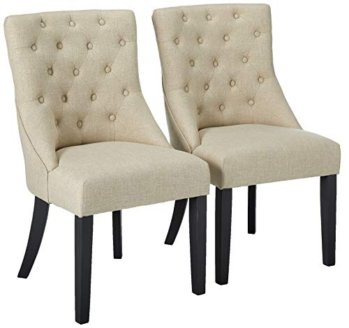 Alpine Furniture Prairie Side Chair in Cream Linen Upholstery-Set of 2