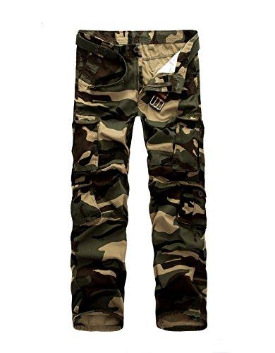 AYG Herren Cargo Hose Baumwolle Militär Hose(Camouflage,34)