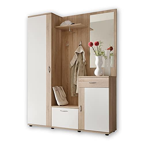 Stella Trading Patent Entrada Roble Sonoma, Blanco-Mueble de recibidor Compacto con Espejo, Engineered Wood, 145 x 184 x 29 cm