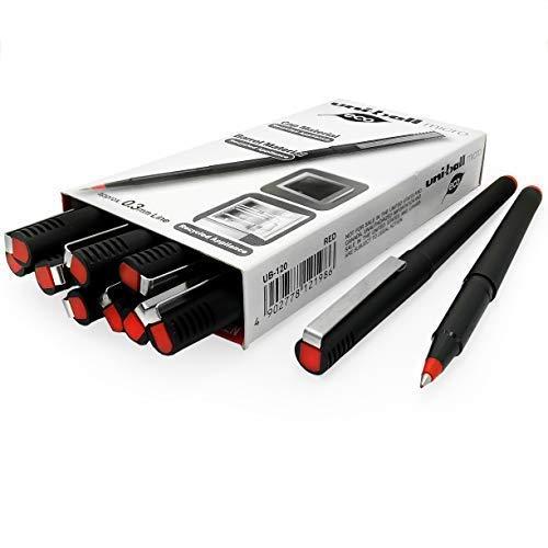 Uni-Ball – Micro Ub-120 – Plastique recyclé Roller Encre Liquide Ligne – 0,3 mm – Rouge – Lot de 12