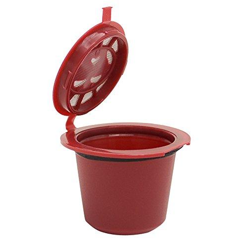 Wiederbefüllbare Kaffeekapsel kompatibel mit Nespresso Machines Filter zum Nachfüllen Refill-Kapsel für umweltbewusste Kaffee-Liebhaber Maschinen Kapsel Kaffeeduck Kaffeekapselfüllung (Rot)