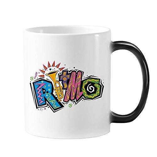 DIYthinker Mexico Cultuur Elment Veel Kleuren Ritmo Slogan Morphing Warmte Gevoelige Veranderende Kleur Mok Cup Gift Melk Koffie Met Handvatten 350 Ml
