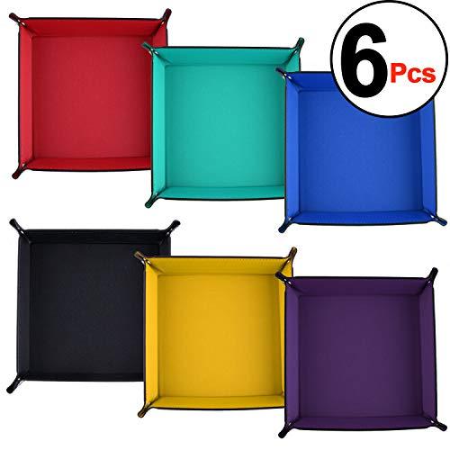 SIQUK 6 Piezas Tablero de Dados PU de Cuero Bandeja de Balanceo Soporte Cuadrado Plegable para Juegos de Dados como RPG, DND y Otros Juegos de Mesa, 6 Colores