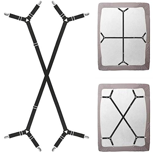 4 Pieces Elegance Linen Adjustable Sheet Set Holder Strap Suspender Gripper 100 /% Satisfaction Guarantee 1 Pack
