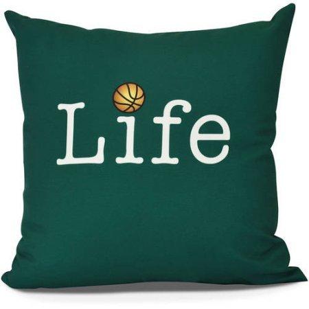 Life + Ball Word Print Outdoor Pillow, 20' x 20', Green
