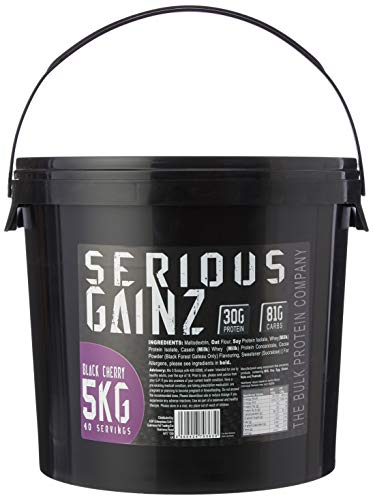 The Bulk Protein Company - SERIOUS GAINZ Whey Protein Powder 5kg - Weight Gain, Mass Gainer - 30g Protein Powders - Black Cherry