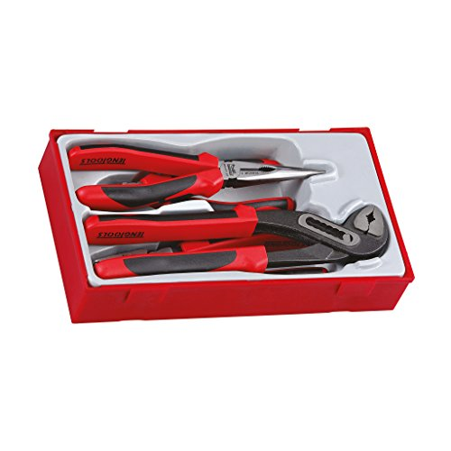 Teng Tools 4 Piece Plier Set Tool Tray (Side Cutters, Linesman, Long Nose, Water Pump) - TT440-T