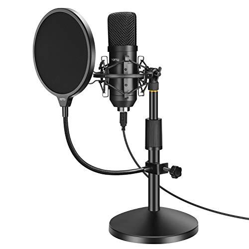 YOTTO Micrófono USB, PC Micrófono de Condensador para ordenador profesional 192KHz/24bit cardioide Micrófono con soporte de micrófono, filtro pop para Twitch Streaming, Podcasting, Youtube, Skype