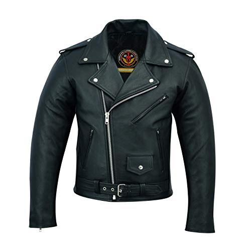 Warrior Gears® Brando - Chaqueta de piel auténtica para hombre | Piel de vacuno en relieve | Cuero genuino | Chaquetas Marlo perfecto