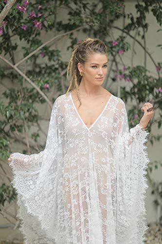 Bridal Kaftan Dress Made of Soft Lace, Boho Beach Dress, Medium Size (Please check sizes in my shop)