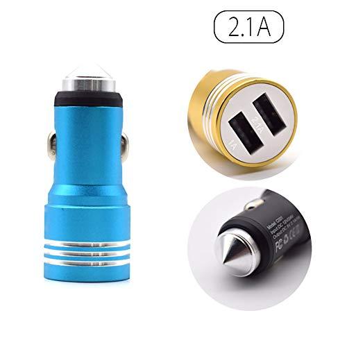 FJW 3.1A Mini Chargeur de Voiture Double Port Adaptateur de Voiture USB avec Marteau de sécurité pour iPhone XS/XR/XS Max / 8/8 Plus, Galaxy S9 / S8 / Note 8 et Plus,Blue