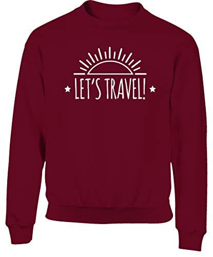 Hippowarehouse Let's Travel Kids Children's Unisex Jumper Sweatshirt Pullover Maroon