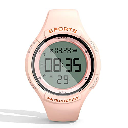 synwee Fitness Tracker Digital Watch for Kids Girls Boys Teens Women, Non-Bluetooth, IP68 50M Water Resistant, Pedometer, Calorie Counter, Alarm Clock, Great Gift for Kids (Sakura Pink)
