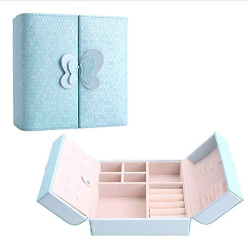 CCHM Sac de Maquillage de Voyage Portable en Cuir PU Papillon Décoration Boîte de Stockage d'affichage de Bijoux pour Les Femmes,Blue