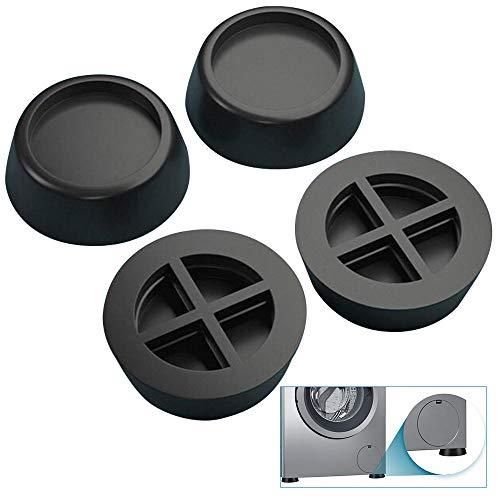 4 Unidades de Goma Antivibracion Patas para Lavadora, Almohadillas Universales de Vibraciones para Lavadora y Secadora (6,5 cm), Negro