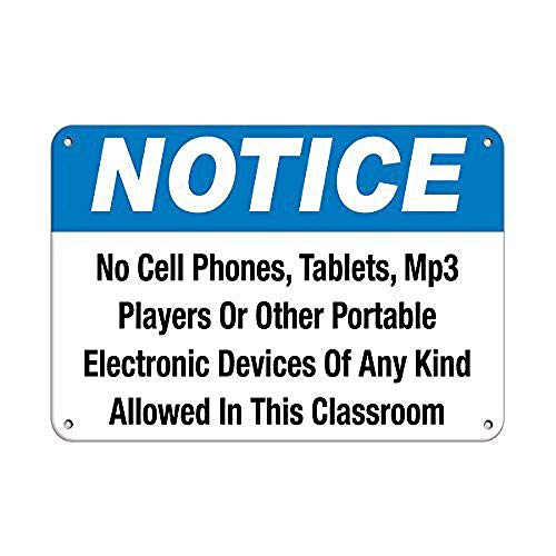 JOHUA Cell Phones Tablets mp3 Players Not Allowed Classroom Metal poster Tin Sign Warning Sign Vintage Poster Metal Sign Plaque for Garage Home Coffee Shop Office Wall Decor