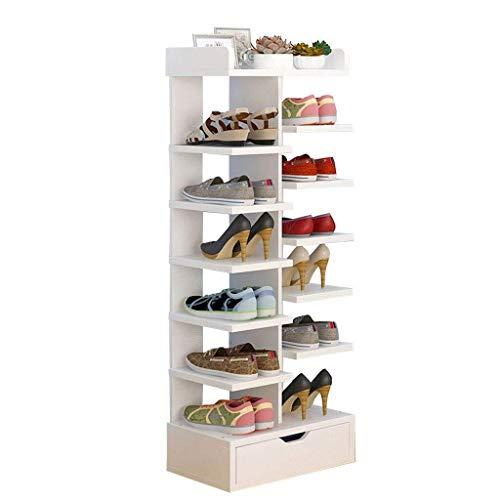WJJ Zapatos Organizador estantes de Almacenamiento Organizador MDF Estante de Madera con cajón for Ahorrar Espacio de Libertad (40X24X114CM) (Color : White)